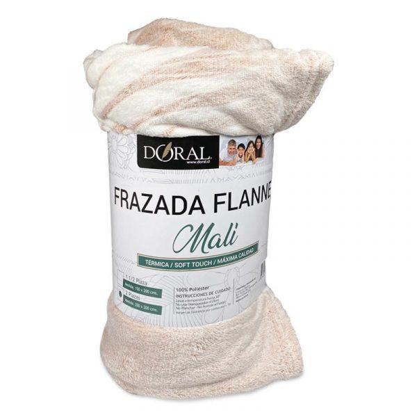 Frazada Flannel Embossed Mali / Café Claro Hojas Blancas - Doral