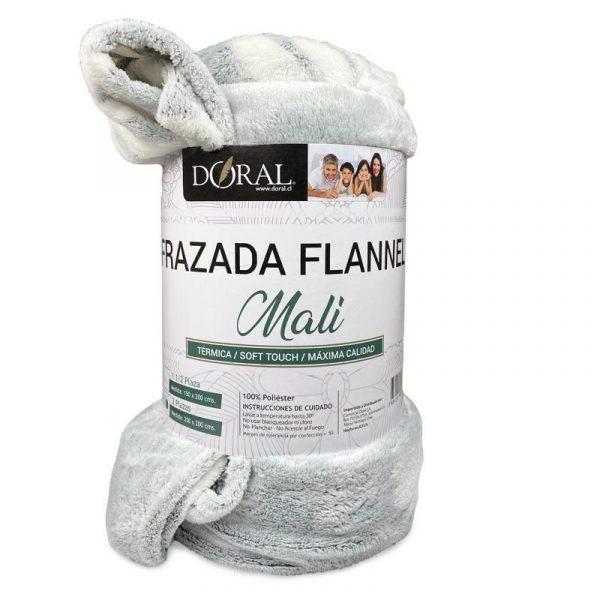 Frazada Flannel Embossed Mali / Gris Claro Hojas Blancas - Doral